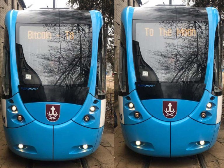 'Bitcoin to the Moon' Signs Appear in Ukrainian Tram