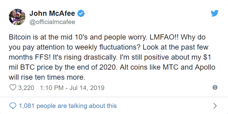Only 375 Days Left for McAfee's $1M Bitcoin Price Wager